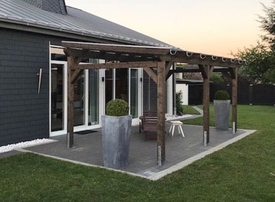 Flat Roof Terrace Canopy Canopy Carport Glue Wood Pergola Bsh Glass Ebay