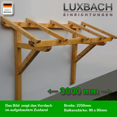holz vordach pultvordach massivholz haust r berdachung holzvordach 300 cm 9x9cm ebay. Black Bedroom Furniture Sets. Home Design Ideas